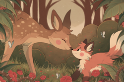 Size: 756x500 | Tagged: safe, artist:sherwind, arthropod, butterfly, canine, cervid, deer, fox, insect, mammal, feral, ambient wildlife, ambiguous gender, blush sticker, blushing, brown body, brown fur, duo, duo ambiguous, eyes closed, forest, fur, orange body, orange fur, scenery, smiling, spotted fur