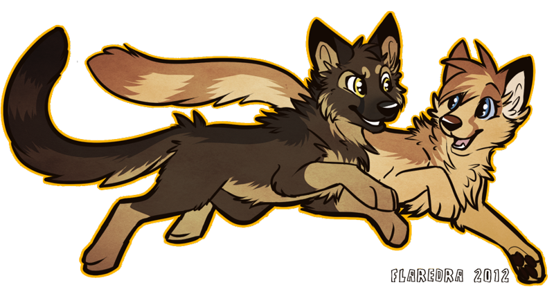 Size: 930x498 | Tagged: safe, artist:citrinelle, oc, oc only, oc:star-gazer, oc:stomak, canine, cheetah, dog, feline, german shepherd, hybrid, mammal, wolf, feral, 2012, blue eyes, brown body, brown fur, cheek fluff, chest fluff, digital art, duo, featured image, female, fluff, fur, happy, head fluff, male, neck fluff, open mouth, outline, paw pads, paws, running, side view, signature, simple background, smiling, tail, tan body, tan fur, teeth, tongue, transparent background, yellow eyes