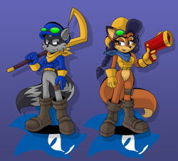 Size: 900x812 | Tagged: safe, artist:gameboysage, carmelita fox (sly cooper), sly cooper (sly cooper), canine, fox, mammal, procyonid, raccoon, anthro, sega, sly cooper (series), sonic the hedgehog (series), 2020, bottomless, brown eyes, crossover, female, male, nudity, partial nudity, sonicified, vixen