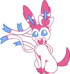 Size: 698x735 | Tagged: safe, artist:tommeypinkiemonkey, eeveelution, fictional species, mammal, sylveon, feral, nintendo, pokémon, 2020, pixel art, simple background, smiling, solo, transparent background