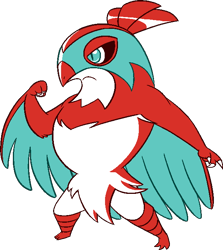 Size: 588x659 | Tagged: safe, artist:tommeypinkiemonkey, bird, bird of prey, fictional species, hawk, hawlucha, anthro, nintendo, pokémon, 2020, pixel art, simple background, solo, transparent background, wings