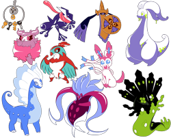 Size: 2685x2173 | Tagged: safe, artist:tommeypinkiemonkey, aegislash, amphibian, aurorus, bird, bird of prey, dinosaur, dragon, eeveelution, fictional species, frog, goodra, greninja, hawk, hawlucha, klefki, legendary pokémon, mammal, mollusk, sauropod, squid, sylveon, zygarde, zygarde 50% forme, ambiguous form, anthro, feral, nintendo, pokémon, 2020, ambiguous gender, aromatisse, group, high res, key, malamar, pixel art, shield, simple background, smiling, solo, solo ambiguous, sword, tail, tongue, tongue out, transparent background, weapon, wings