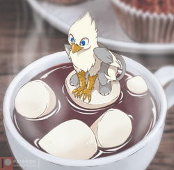 Size: 1000x975 | Tagged: safe, artist:arctic-fox, oc, oc only, oc:der, bird, feline, fictional species, gryphon, mammal, feral, blue eyes, chest fluff, claws, cup, drink, fluff, food, hot chocolate, male, marshmallow, micro, muffin, mug, patreon logo, plate, sitting, solo, solo male, steam, table, tail, tail tuft, talons, wings
