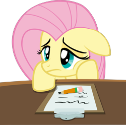 Size: 6326x6280   Tagged: dead source, safe, artist:pink1ejack, fluttershy (mlp), equine, fictional species, mammal, pegasus, pony, feral, friendship is magic, hasbro, my little pony, 2016, absurd resolution, clipboard, cute, female, floppy ears, frowning, leaning, lidded eyes, mare, pencil, sad, simple background, solo, solo female, table, transparent background, vector