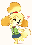Size: 528x739 | Tagged: safe, artist:aseethe, isabelle (animal crossing), canine, dog, mammal, anthro, digitigrade anthro, animal crossing, nintendo, 2019, abstract background, barefoot, beanbrows, bell, black eyes, blush sticker, bottomwear, cheek fluff, clothes, cute, female, fluff, hair, hair tie, hand on face, heart, looking at you, one eye closed, open mouth, paws, pink background, shirt, signature, simple background, skirt, smiling, solo, solo female, tail, tail fluff, topwear, winking