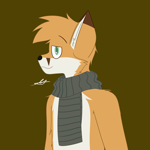 Size: 2000x2000 | Tagged: safe, artist:takumi, oc, oc only, canine, fox, mammal, anthro, brown background, cheek fluff, clothes, ear fluff, fluff, gift art, green eyes, head fluff, looking at you, male, scarf, simple background, smiling, smiling at you, solo, solo male