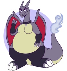 Size: 1221x1298 | Tagged: safe, artist:lulubell, charizard, dragon, fictional species, semi-anthro, nintendo, pokémon, breasts, collar, eyeshadow, fat, featureless breasts, female, goth, makeup, solo, solo female, spiked collar, tail
