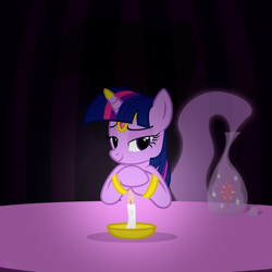 Size: 1024x1024 | Tagged: dead source, safe, artist:navitaserussirus, twilight sparkle (mlp), equine, fictional species, genie, mammal, pony, unicorn, feral, friendship is magic, hasbro, my little pony, bedroom eyes, bottle, candle, cute, genie pony, looking at you, race swap, seductive look