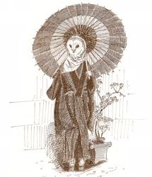 Size: 2330x2704 | Tagged: safe, artist:archiwyzard, bird, bird of prey, owl, anthro, kimono (clothing), monochrome, parasol, solo, traditional art