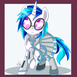 Size: 1024x1024 | Tagged: dead source, safe, artist:hanaty, miku hatsune (vocaloid), vinyl scratch (mlp), equine, fictional species, mammal, pony, unicorn, feral, friendship is magic, hasbro, my little pony, vocaloid, bottomwear, clothes, cosplay, crossover, cute, female, mare, necktie, shirt, skirt, solo, solo female, topwear