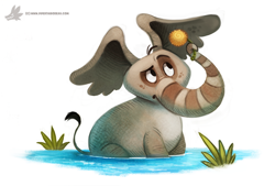 Size: 1024x692 | Tagged: safe, artist:cryptid-creations, horton (dr. seuss), elephant, mammal, feral, dr. seuss, horton hears a who!, flower, holding object, male, male focus, solo focus, water