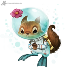 Size: 800x782 | Tagged: safe, artist:cryptid-creations, sandy cheeks (spongebob squarepants), mammal, rodent, squirrel, semi-anthro, nickelodeon, spongebob (series), acorn, diver suit, female, flower, flower on head, solo, solo female, underwater, water