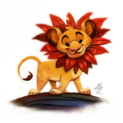 Size: 900x901 | Tagged: safe, artist:cryptid-creations, simba (the lion king), big cat, feline, lion, mammal, feral, disney, the lion king, cub, leaf, male, solo, solo male, young, younger