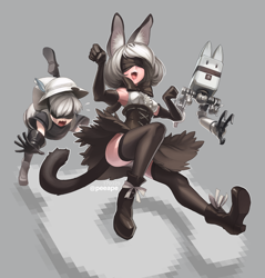 Size: 1260x1320 | Tagged: safe, artist:peeape, 2b (nier:automata), 9s (nier:automata), kaban (kemono friends), pod 042 (nier:automata), serval (kemono friends), animal humanoid, feline, fictional species, human, mammal, robot, serval, humanoid, kemono friends, nier:automata, square enix, bottomwear, clothes, cosplay, crossover, female, group, hat, lucky beast, male, nier:nekomata, pants, skirt, species swap, trio