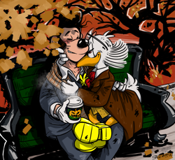 Size: 1599x1462 | Tagged: safe, artist:salemaru, anthro, disney, autumn, blood, cartoons, coffee, comics, drink, fall, halloween, john rockerduck (disney), kiss on the neck, lusky (jeeves) (disney), male, slash, topolino, two males, vampires