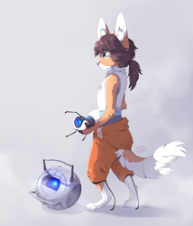 Size: 3000x3500 | Tagged: safe, artist:reysi, chell (portal), wheatley (portal), cat, feline, fictional species, mammal, robot, anthro, portal (game series), valve, anthrofied, duo, female, furrified, male, portal gun, species swap