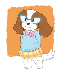 Size: 649x800 | Tagged: safe, artist:badcactus, nameless oc, oc, oc only, canine, dog, mammal, anthro, abstract background, barefoot, bottomwear, bow, brown body, brown fur, clothes, cute, ear fluff, ears, female, fluff, fur, glasses, hands behind back, leg fluff, orange body, orange fur, paws, simple background, skirt, smiling, solo, solo female, sweater, tail, topwear, white background, white body, white fur