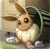 Size: 1866x1843 | Tagged: safe, artist:otakuap, eevee, eeveelution, fictional species, mammal, feral, nintendo, pokémon, ambiguous gender, basket, chest fluff, fluff, fur, lying down, prone, smiling, solo, solo ambiguous