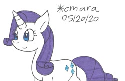 Size: 959x623   Tagged: safe, artist:cmara, rarity (mlp), equine, fictional species, mammal, pony, unicorn, feral, friendship is magic, hasbro, my little pony, female, mare, simple background, solo, traditional art, white background