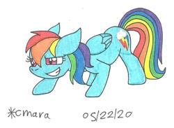 Size: 981x717   Tagged: safe, artist:cmara, rainbow dash (mlp), equine, fictional species, mammal, pegasus, pony, feral, friendship is magic, hasbro, my little pony, badass, female, grin, mare, solo, traditional art