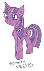 Size: 639x1026   Tagged: safe, artist:cmara, twilight sparkle (mlp), alicorn, equine, fictional species, mammal, pony, feral, friendship is magic, hasbro, my little pony, confused, female, mare, solo, traditional art