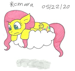 Size: 926x883   Tagged: safe, artist:cmara, fluttershy (mlp), equine, fictional species, mammal, pegasus, pony, feral, friendship is magic, hasbro, my little pony, cloud, female, mare, scared, solo, traditional art