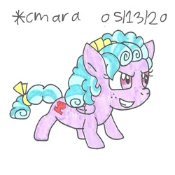Size: 788x789   Tagged: safe, artist:cmara, cozy glow (mlp), equine, fictional species, mammal, pegasus, pony, feral, friendship is magic, hasbro, my little pony, badass, bow, cute, female, filly, foal, freckles, grin, mane bow, smiling, solo, tail, tail bow, traditional art, young