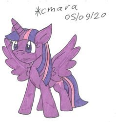 Size: 882x927   Tagged: safe, artist:cmara, twilight sparkle (mlp), alicorn, equine, fictional species, mammal, pony, feral, friendship is magic, hasbro, my little pony, cute, female, mare, solo, traditional art, wings