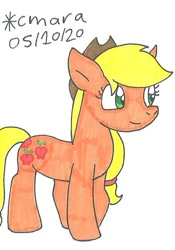 Size: 567x811   Tagged: safe, artist:cmara, applejack (mlp), earth pony, equine, fictional species, mammal, pony, feral, friendship is magic, hasbro, my little pony, applejack's hat, clothes, cowboy hat, cute, female, happy, hat, mare, solo, traditional art
