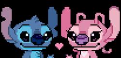 Size: 618x300 | Tagged: safe, artist:angoraram, angel (lilo & stitch), stitch (lilo & stitch), alien, experiment (lilo & stitch), fictional species, semi-anthro, disney, lilo & stitch, 2018, antenna, blue body, blue eyes, blue fur, blue nose, chest fluff, chest marking, claws, couple, duo, fluff, fur, head fluff, heart, pink body, pink fur, pixel art, purple eyes, purple nose, simple background, smiling, torn ear, transparent background
