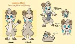Size: 1407x822 | Tagged: safe, artist:angoraram, stitch (lilo & stitch), oc, oc:angora ram, bovid, goat, mammal, disney, lilo & stitch, 2018, angora goat, blue sclera, blue tongue, bottomless, brown nose, clothes, colored sclera, colored tongue, digital art, english text, eyes closed, female, grin, horizontal pupils, horn, nudity, partial nudity, raised inner eyebrows, reference sheet, shirt, signature, simple background, smiling, solo, solo female, standing, sweat, t-shirt, tongue, tongue out, topwear, wool, yellow background