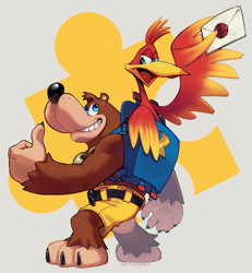 Size: 1065x1155 | Tagged: safe, artist:don, banjo (banjo-kazooie), kazooie (banjo-kazooie), bear, bird, breegull, fictional species, mammal, red crested breegull, anthro, banjo-kazooie, nintendo, rareware, super smash brothers, backpack, bottomwear, claws, clothes, duo, envelope, female, grin, head tuft, holding object, jewelry, jiggy, lidded eyes, looking at each other, looking back, male, necklace, open mouth, partial nudity, shorts, thumbs up, topless