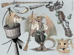 Size: 1400x1049 | Tagged: safe, artist:taborlin123, fictional species, kobold, reptile, anthro, crow's nest, gun, horns, male, solo, solo male, spyglass, tail, weapon, wings