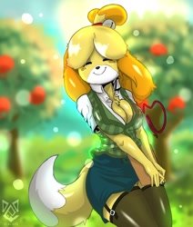 Size: 1024x1205 | Tagged: safe, artist:diacordst, isabelle (animal crossing), canine, dog, mammal, anthro, animal crossing, nintendo, apple, black nose, blurred background, bottomwear, breasts, clothes, cute, detailed background, digital art, ears, eyes closed, female, food, fruit, fur, hair, happy, headband, legwear, multicolored fur, skirt, smiling, solo, solo female, stockings, tail, thighs, tree, two toned body, two toned fur, white body, white fur, wide hips, yellow body, yellow fur