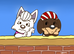 Size: 1500x1100 | Tagged: safe, artist:rex100, arrby (paw patrol), sweetie (paw patrol), canine, dog, domestic dog, mammal, feral, nickelodeon, paw patrol, peanuts (comic), anxiety, bandanna, black nose, brown body, brown fur, clothes, collar, dachshund, digital art, ears, eyebrows, female, fur, hair, looking at you, male, multicolored fur, reference, simple background, sitting, solo, suit, tan body, tan fur, two toned body, two toned fur, white body, white fur, white hair