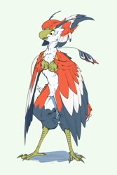 Size: 1200x1800 | Tagged: safe, artist:521kan, bird, anthro, 2020, arm wings, beak, bird feet, cheek fluff, digital art, feathers, featureless crotch, fluff, front view, gray feathers, orange body, pubic fluff, red feathers, simple background, standing, three-quarter view, yellow eyes