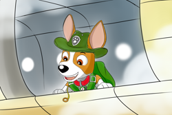 Size: 1200x800 | Tagged: safe, artist:rex100, tracker (paw patrol), canine, dog, domestic dog, mammal, feral, nickelodeon, paw patrol, black nose, brown body, brown fur, clothes, collar, digital art, ears, eyebrows, fur, hat, male, multicolored fur, solo, suit, tan body, tan fur, two toned body, two toned fur, white body, white fur