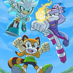 Size: 320x320 | Tagged: safe, blaze the cat (sonic), marine the raccoon (sonic), silver the hedgehog (sonic), anthro, sega, sonic the hedgehog (series), female, group, male