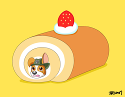 Size: 1550x1200 | Tagged: safe, artist:rex100, tracker (paw patrol), canine, dog, domestic dog, mammal, feral, nickelodeon, paw patrol, berry, black nose, brown body, brown fur, cake, clothes, digital art, ears, eyebrows, food, fruit, fur, hat, male, simple background, solo, strawberry, white body, white fur