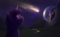 Size: 1920x1200 | Tagged: safe, artist:crufox, furbooru exclusive, twilight sparkle (mlp), equine, fictional species, mammal, pony, unicorn, feral, friendship is magic, hasbro, my little pony, 2015, canterlot, castle, chest fluff, cloud, comet, female, fluff, force field, forest, fur, gasping, hair, imminent impact, looking at something, mane, mare, meteor, mountain range, multicolored hair, night, open mouth, outdoors, purple body, purple eyes, purple fur, reflection, river, scenery, shadow, side view, signature, solo, solo female, stars, water