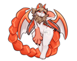 Size: 2560x2048 | Tagged: safe, artist:nikorieru, oc, oc:lüka, fictional species, hybrid, mammal, manticore, anthro, ambiguous gender, bat wings, fur, horns, multicolored fur, red eyes, simple background, solo, transparent background, webbed wings, white body, white fur, wings