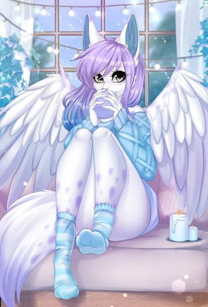 Size: 868x1280 | Tagged: safe, artist:yonachka_doki, wolf, anthro, blue hair, candle, clothes, drink, drinking, featured image, female, freckles, fur, gray eyes, hair, hot chocolate, multicolored hair, plant, purple hair, snow, socks, solo, solo female, sweater, topwear, white body, white fur, winged wolf, wings