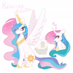 Size: 2038x2048 | Tagged: safe, artist:pineappleartz, princess celestia (mlp), alicorn, equine, fictional species, mammal, pony, anthro, feral, friendship is magic, hasbro, my little pony, backless, blushing, bust, clothes, ear piercing, earring, female, heart, jewelry, lidded eyes, looking at you, looking back, piercing, purple eyes, simple background, sitting, smiling, solo, solo female, sparkles, spread wings, strapless, watermark, white background, wings