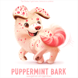 Size: 646x642 | Tagged: safe, artist:cryptid-creations, canine, dog, mammal, feral, ambiguous gender, candy, food, peppermint bark (candy), pun, solo, solo ambiguous