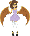 Size: 2477x3000 | Tagged: safe, artist:lightningbolt, furbooru exclusive, oc, oc only, oc:midnight cakepowder, bat, mammal, anthro, digitigrade anthro, 2019, bat wings, breasts, clothes, commission, dress, fangs, female, high res, purple eyes, shoes, simple background, slit pupils, solo, solo female, transparent background, vector, webbed wings, wings