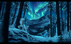 Size: 2169x1351   Tagged: species needed, safe, artist:nightrizer, oc, oc only, canine, mammal, wolf, feral, 2019, aurora borealis, color porn, commission, duo, female, forest, male, night, night sky, open mouth, scenery, scenery porn, short tail, signature, sky, smiling, snow, tail, technical advanced, tree