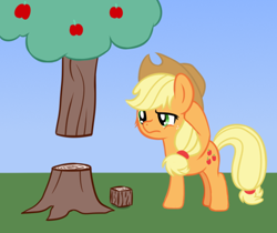 Size: 582x489 | Tagged: safe, artist:djdavid98, applejack (mlp), earth pony, equine, fictional species, mammal, pony, friendship is magic, minecraft, my little pony, abstract background, apple, apple tree, clothes, confused, crossover, cutie mark, feral, food, freckles, fur, green eyes, hair, hat, hooves, newbie artist training grounds, orange fur, solo, tail, tree, video game logic, yellow hair