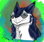 Size: 1814x1749 | Tagged: safe, artist:draim, oc, oc only, fictional species, mammal, sergal, anthro, abstract background, blue eyes, cheek fluff, fluff, fluffy, looking at something, male, neck fluff, signature, solo, solo male