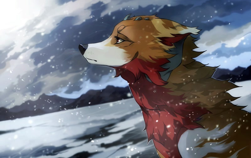 Size: 1280x808 | Tagged: safe, artist:geo saiko, canine, mammal, wolf, bust, climate change in the comments, featured image, feral, ice, portrait, solo