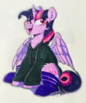 Size: 1590x1907 | Tagged: safe, artist:pucksterv, twilight sparkle (mlp), alicorn, equine, fictional species, mammal, pony, friendship is magic, my little pony, 2020, clothes, female, feral, hoodie, looking at you, mare, one eye closed, signature, simple background, smiling, socks, solo, solo female, sparkles, traditional art, twilight sparkle (alicorn), white background, winking